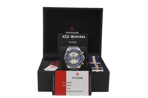 Tudor Heritage Chronograph 70330B Blue Dial Stainless Steel Bracelet B&P