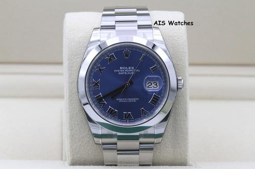 BNIB Rolex Datejust 41MM 126300 Blue Roman Dial Oyster Bracelet B&P - SEALED