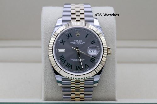 BNIB Rolex 126333 DateJust 41MM 18K YG / SS Slate Roman Dial Jubilee Bracelet