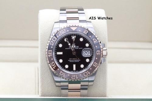 BNIB Rolex 126711 CHNR GMT Master II 18K Rose Gold / SS RootBeer Ceramic B&P