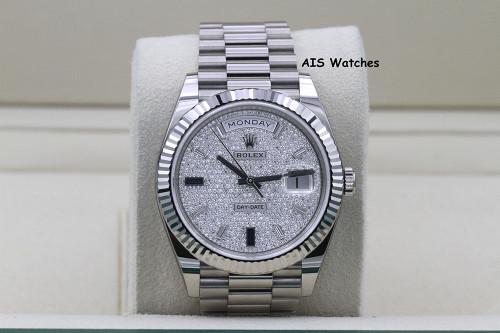BNIB Rolex 228239 DayDate 40MM DD40 White Gold Diamond Pave Sapphire Baguettes