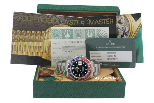 Rolex GMT Master II 16710 A Serial Pepsi Insert RSC Serviced + Box & Papers