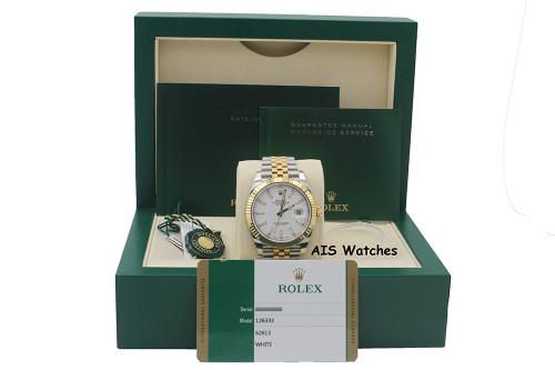 Rolex 126333 DateJust 41MM 18K YG / SS White Stick Dial Jubilee Bracelet B&P