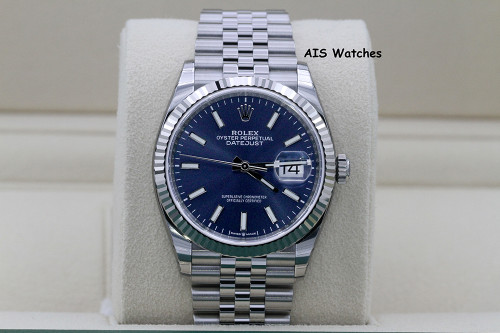 BNIB Rolex Datejust 36MM 126234 Fluted / Jubilee Blue Stick Dial - SEALED