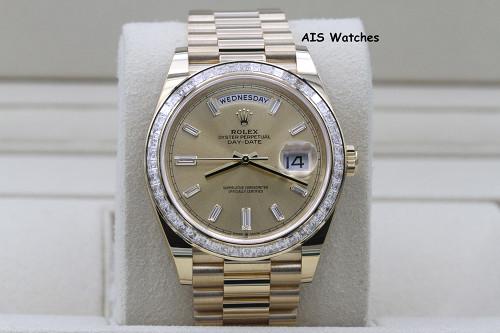 BNIB Rolex 228398TBR DayDate 40 18K YG Champagne Baguette Diamond Dial / Bezel