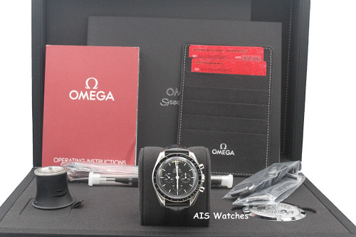 BNIB Omega SpeedMaster Moon Watch 311.33.42.30.01.001 Hesalite Crystal Leather