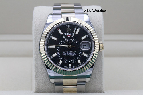 Rolex 326933 Sky-Dweller 18K Yellow Gold / Stainless Steel Black Dial B&P
