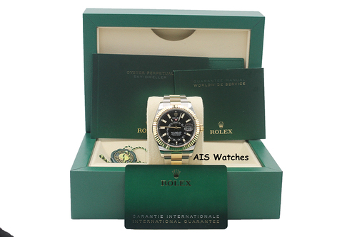 BNIB Rolex 326933 Sky-Dweller 18K Yellow Gold / Stainless Steel Black Dial B&P