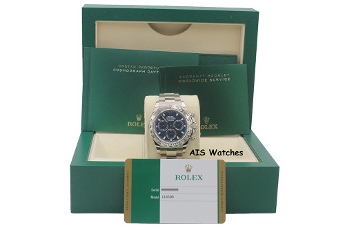 Rolex 116509 Daytona Cosmograph 18K White Gold Blue Dial B&P