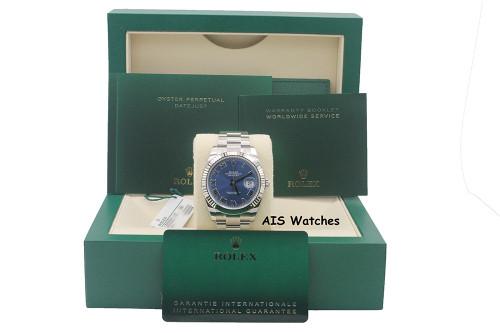 BNIB Rolex Datejust 41MM 126334 Blue Roman Dial Oyster Box & Papers