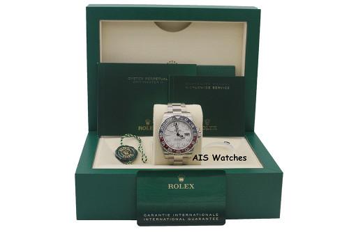 BNIB Rolex GMT-Master II 126719BLRO Meteorite Dial Pepsi Ceramic 18K White Gold