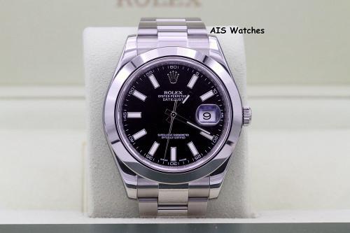 Rolex Datejust II 41MM 116300 Black Stick Dial Stainless Steel Box & RSC Card