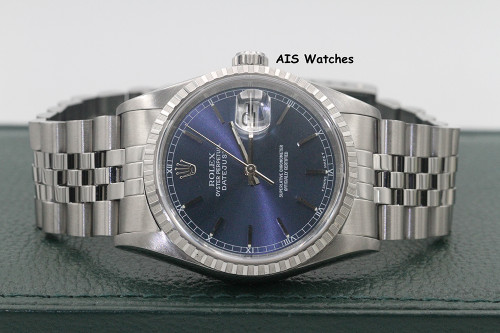 Rolex Datejust 36MM 16220 Blue Stick Dial Jubilee A Serial Box & Papers