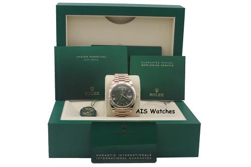 BNIB Rolex 228235 DayDate 40MM DD40 Rose Gold Olive Green Roman Dial B&P