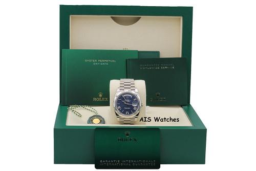 BNIB Rolex 228239 DayDate 40MM DD40 White Gold Blue Roman Dial