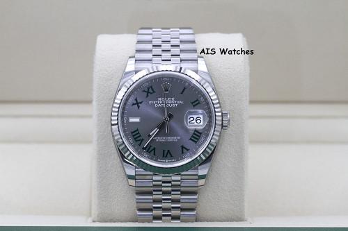 BNIB Rolex Datejust 36MM 126234 Jubilee Slate Grey Green Roman Wimbledon Dial