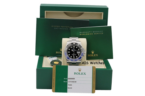 Rolex GMT Master II 116710BLNR Black Blue Batman Ceramic Bezel Box & Papers