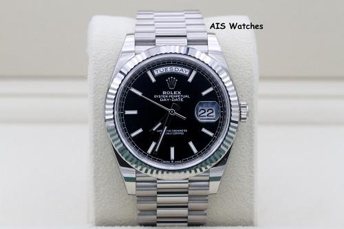 BNIB Rolex 228239 DayDate 40MM DD40 White Gold Black Stick Dial