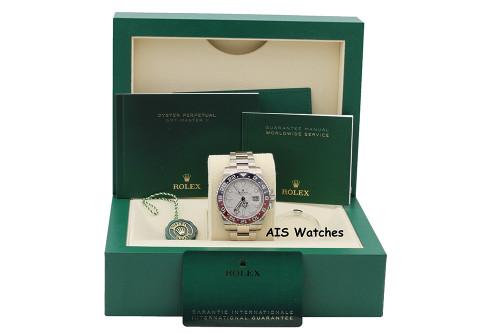 BNIB Rolex GMT-Master II 126719BLRO Meteorite Dial Pepsi 18K WG Box & Papers