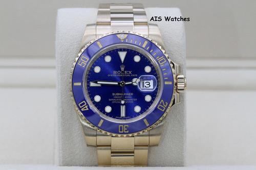 Rolex Submariner Ceramic 116618LB 18K Yellow Gold Sunburst Blue Dial
