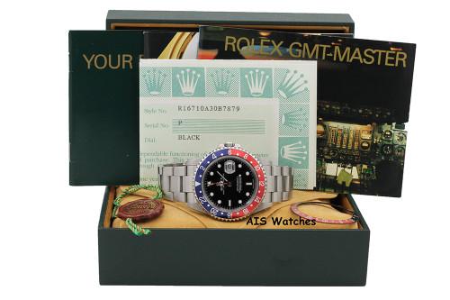Rolex GMT Master II 16710 P Serial Pepsi Insert Box & Papers