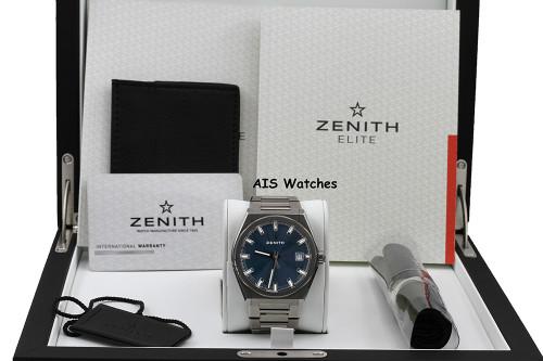 Zenith Defy Classic 95.9000.670/51.M9000 Blue Dial 41MM Titanium Bracelet B&P