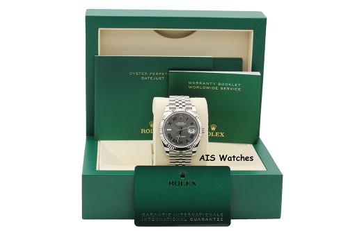 BNIB Rolex Datejust 41MM 126334 Slate Grey Green Roman Wimbledon Dial Jubilee Box & Papers
