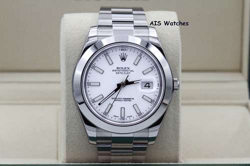 Rolex Datejust II 41MM 116300 White Stick Dial Stainless Steel Box & Papers