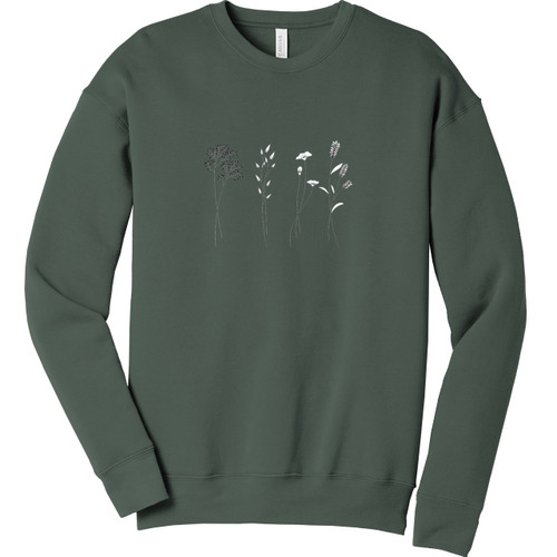 Military Green Wildflower Sweatshirt