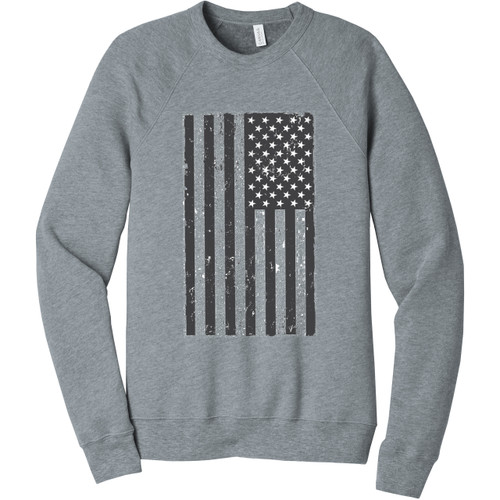 Athletic Heather Distressed American Flag Unisex Sweatshirt