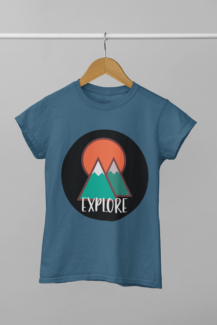 Steel Blue Explore Colorful Mountains Tee