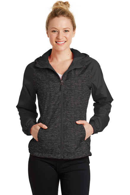 Black Heather Sport-Tek® Ladies Heather Colorblock Raglan Hooded Wind Jacket