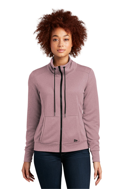 Dusty Mauve Heather New Era® Ladies Performance Terry Full-Zip Cowl