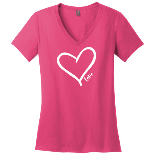 Fuchsia Heart Love Women's V-Neck Tees