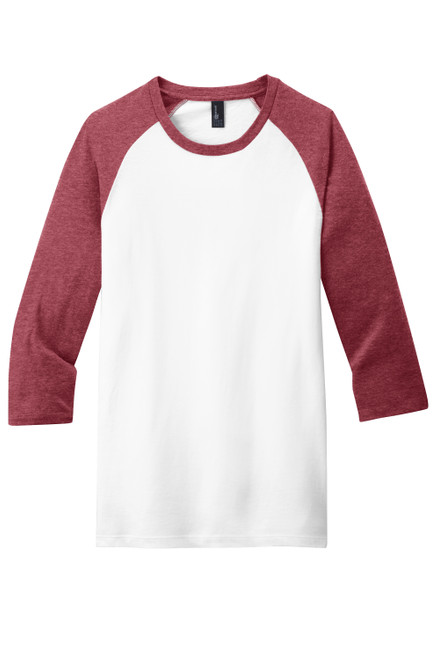 Heathered Red/White District Very Important Tee® 3/4-Sleeve Raglan
