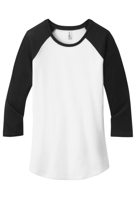 Black/White District Women's Fitted Very Important Tee® 3/4-Sleeve Raglan