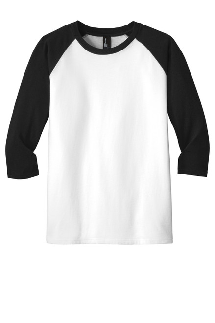 Black/White District Youth Very Important Tee® 3/4-Sleeve Raglan