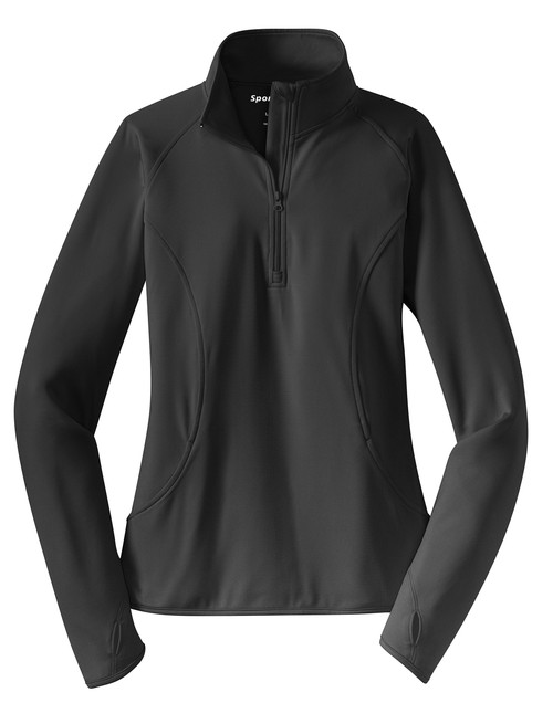 Charcoal Grey Sport-Tek® Ladies Sport-Wick® Stretch 1/2-Zip Pullover