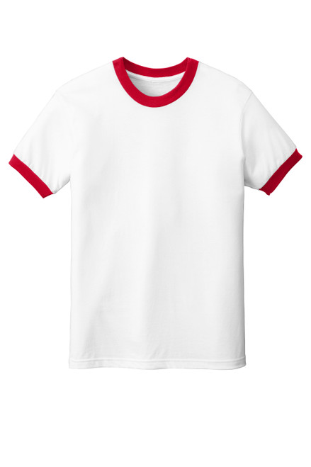White/Red American Apparel ® Fine Jersey Ringer T-Shirt