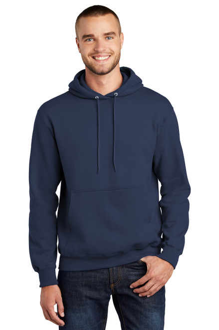 Navy Port & Company® Essential Fleece Pullover Hooded Sweatshirt