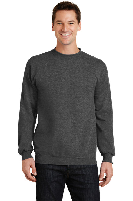 Dark Heather Grey Port & Company Core Fleece Crew Neck Sweatshirt