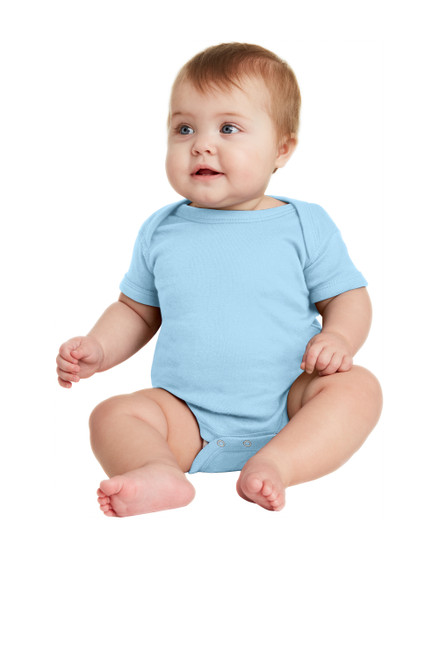 Light Blue Rabbit Skins Infant Short Sleeve Baby Rib Bodysuit
