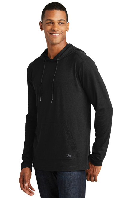 Black New Era Tri-Blend Performance Pullover Hoodie Tee