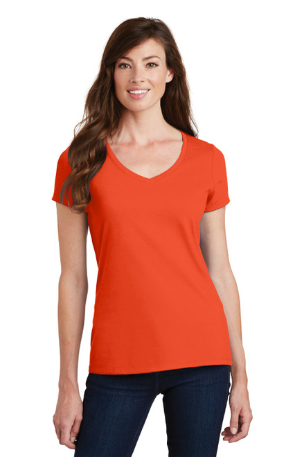 Orange Port & Company Ladies Fan Favorite V-Neck Tee