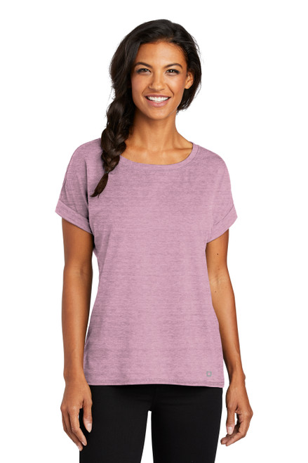 Lilac Heather OGIO Ladies Luuma Cuffed Short Sleeve