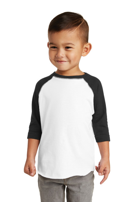 White/Black Rabbit Skins Toddler Baseball Fine Jersey Tee