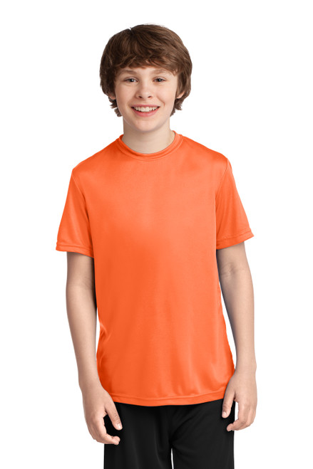 Neon Orange Port & Company Youth Performance Tee