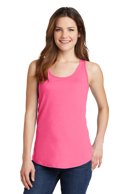Neon Pink Port & Company Ladies Core Cotton Tank Top