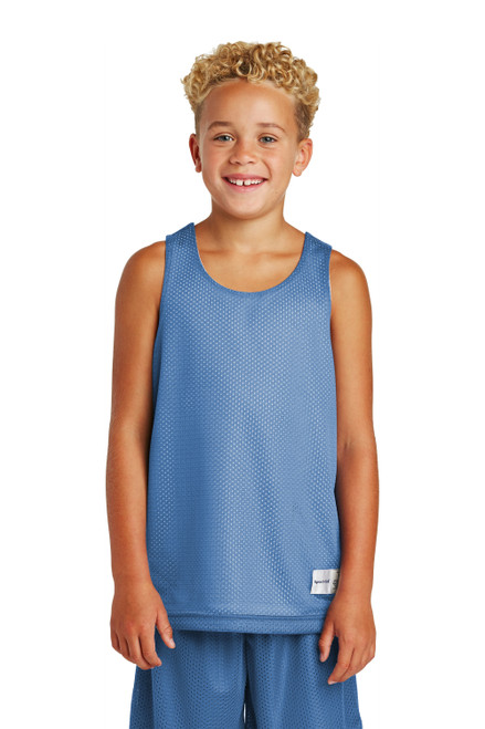 Carolina Blue Sport-Tek Youth PosiCharge Classic Mesh Reversible Tank