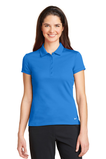 Light Photo Blue Nike Ladies Dri-FIT Solid Icon Pique Modern Fit Polo